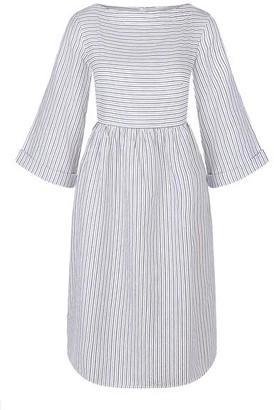 Komodo Organic Cotton Beach Fire Dress in Pinstripe White & Grey - 8