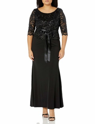 Le Bos Women's Embellished LACE Long Dress with Waist TIE