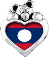 GiftJewelryShop Lao People's Democratic Republic flag Emerald Green Crystal May Birthstone I Love You Heart Care Bear Charm
