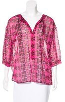 M Missoni Printed Three-Quarter Sleeve Top