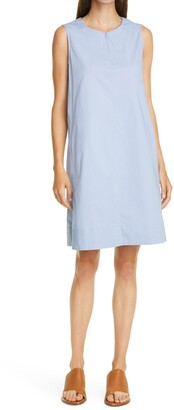 Eileen Fisher Zip Neck Stretch Organic Cotton Dress