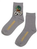 Laines London Grey Bamboo Socks With Crystal Cherries Brooch