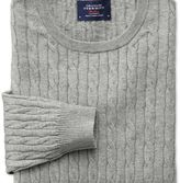 Charles Tyrwhitt Light grey cotton cashmere cable crew neck jumper