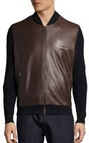 Salvatore Ferragamo Leather & Wool Blend Jacket