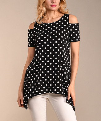 Lbisse Women's Tunics Black - Black & Ivory Pin Dot Cutout Handkerchief Top - Women & Plus