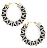 Noir Crystal Studded 18K Gold-Plated Hoop Earrings- 1.77in