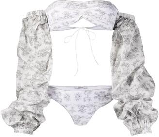 Oseree Botanic-Print Long-Sleeved Bikini