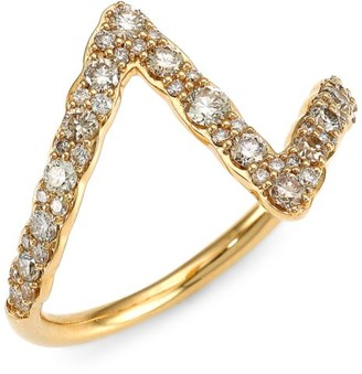 Astley Clarke 14K Yellow Gold & Diamond Pave Zigzag Ring
