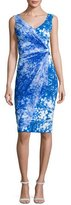 La Petite Robe di Chiara Boni Naomi Printed Faux-Wrap Sheath Dress, Blue
