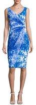 La Petite Robe di Chiara Boni Naomi Printed Faux-Wrap Sheath Dress, Blue