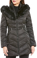 Preston & York Diamond Faux Fur Trim Insert Puffer Coat
