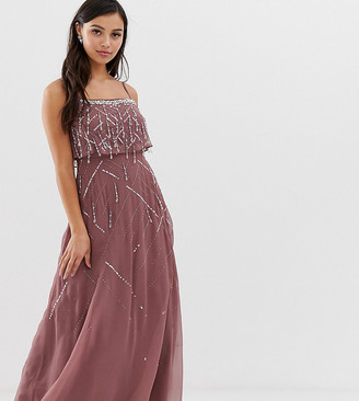 Asos DESIGN Petite cami maxi dress with delicate pearl and beaded crop top-Silver