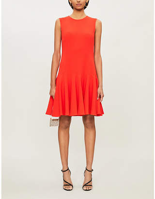Oscar de la Renta Sleeveless flared-hem stretch-wool mini dress