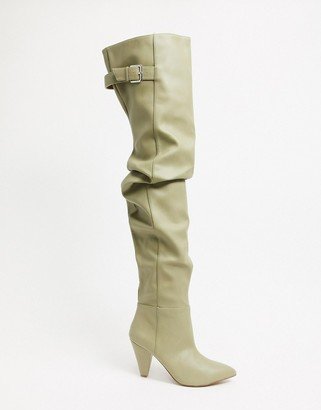ASOS DESIGN Kayla thigh high slouch boots in taupe