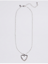 M&S Collection Silver Plated Crystal Heart Necklace