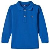 Gant Blue Long Sleeve Pique Polo