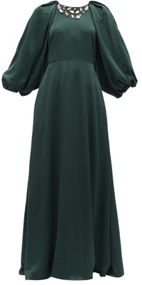 Ssōne Ssone - White Moon Crystal-applique Upcycled Satin Gown - Dark Green