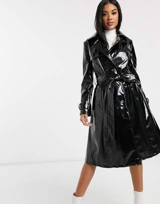 Helene Berman double breasted patent trench coat-Black