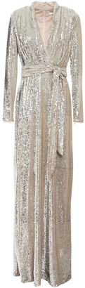 Badgley Mischka Wrap-effect Belted Sequined Woven Gown