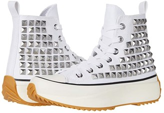 Steve Madden Shaft High-Top Sneaker (White/Stud) Women's Shoes