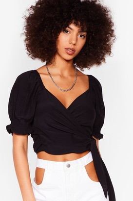 Nasty Gal Womens Tie My Love Puff Sleeve Crop Top - Black - XS