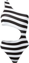 Marios striped one-shoulder swimsuit - women - Spandex/Elastane/Polyimide - M