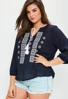 Missguided Curve Navy Embroidered Cheesecloth Tassel Top, Blue