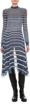 Valentino Bugle-Beaded Chiffon Tie-Neck Dress, Blue/White