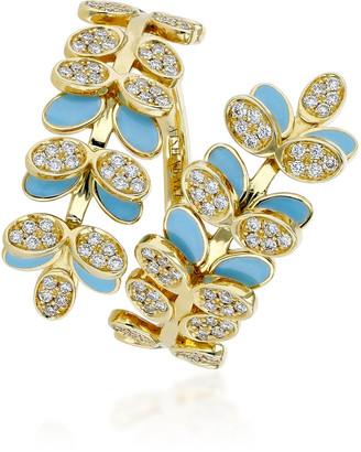 Aisha Baker Victory Dance 18K Gold Diamond And Enamel Ring