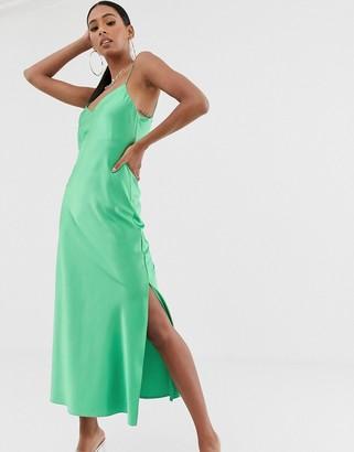 Asos Design DESIGN satin cami maxi slip dress-Green