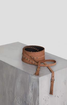 BCBGMAXAZRIA Nubuck Tie-Front Tassel Belt