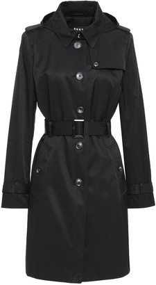 DKNY Belted Cotton-blend Gabardine Hooded Trench Coat
