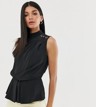 Asos Tall ASOS DESIGN Tall sleeveless drape front top with button detail