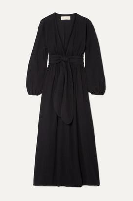 Mara Hoffman + Net Sustain Luna Belted Crinkled Organic Cotton-gauze Maxi Dress - Black