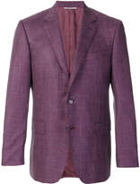 Canali button embellished checked blazer