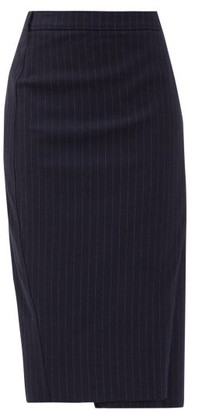 Vetements High-rise Pinstriped Crepe Skirt - Navy