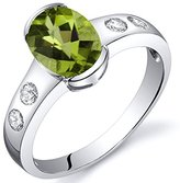 Peora Peridot Ring Sterling Silver Rhodium Nickel Finish Oval Shape 1.25 Carats Half Bezel Size 7