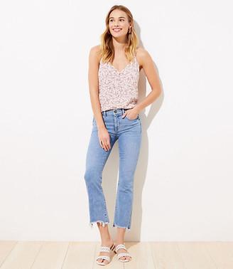 LOFT Petite Destructed High Waist Slim Pocket Flare Crop Jeans in Indigo Wash