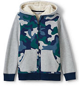 Lands' End Boys Husky Print Blocked Sherpa Lined Hoodie-Rich Red