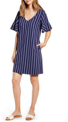 Tommy Bahama Vista Stripe Flutter Sleeve Dress