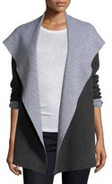 Magaschoni Open Double-Face Hooded Cardigan, Charcoal/Silver