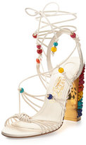 Salvatore Ferragamo Rainbow Beaded Gladiator Sandal, Lait