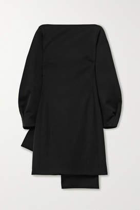 Nina Ricci Bow-embellished Grain De Poudre Wool Mini Dress - Black