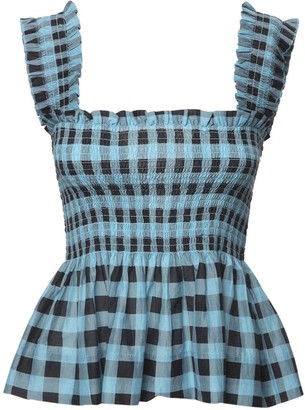 Ganni Cotton & Silk Gingham Top