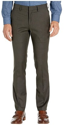 Kenneth Cole Reaction Stretch Micro Check Houndstooth Skinny Fit Flat Front Dress Pants (Chocolate) Men's Dress Pants