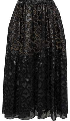 Stella McCartney Animalier Faux Leather-appliqued Chiffon Midi Skirt