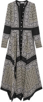 Altuzarra Winne Asymmetric Paisley-print Silk Maxi Dress - Black