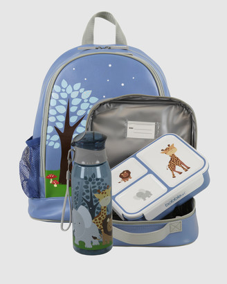 Bobbleart Large Backpack Lunch Bag Bento Box and Drink Bottle Safari