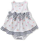 Starting Out Baby Girls Newborn-9 Months Watermelon-Print/Stripe Bodysuit