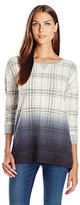Lucky Brand Women's Plaid Dip Dye Pullover